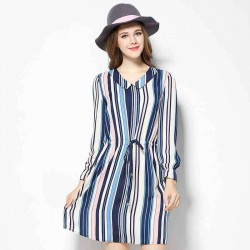 2017 European market and the US market large size women's spring new style drawstring slim figure partial fat lady small v-collar long-sleeved striped chiffon dress