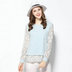 2017 spring new models in Europe and the US market large size women overweight lady flower Duolei Si stitching two-piece knit T-shirt