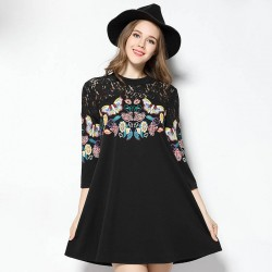 2017 spring new models large size women Ms. Slim overweight European market and the US market butterfly printing lace A-line dress casual