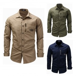 Chic Collar Men's Slim Fit Spread Collar Solid Business Casual Shirt
