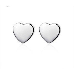 Creative fashion jewelry smooth surface heart-shaped earrings discount European market and the US market low discount prices silver earrings
