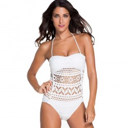 European market and the US market beach bikini party lace stitching halter straps with a chest pad anti-transparent piece swimsuit 42026