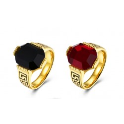 7MM Titanium Ruby Gold Plated Ring Mens Rings