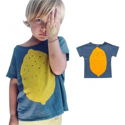 Blue Baby Boy T-shirts Lemon Pattern Cute Cool Tops Clothes