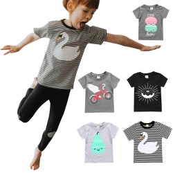 Baby Boy Girls T-shirts Pear Bicycle Swan Sun Marcaron Pattern Tops