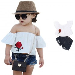 Baby Girls Off Shoulder T-shirts Rose Pattern Denim Short Pants
