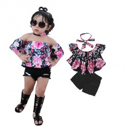 Baby Gril Flower Printed Off Sholder T-shirts Denim Short Pants